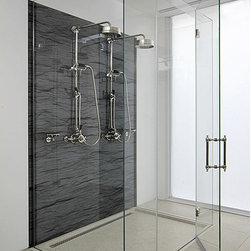 Frameless Glass Shower Enclosure - Custom fully frameless shower enclosure.  Curbless design.  Starphire low iron glass.