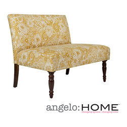 ANGELOHOME - angelo:HOME Bradstreet Vintage Sun-washed Floral Tan Armless Settee - Bring traditional flair to any room with this armless floral settee. This settee is a perfect seating addition for the living room or den, and features turned wood front legs with a dark walnut finish and a thick padded seat and back for comfort.