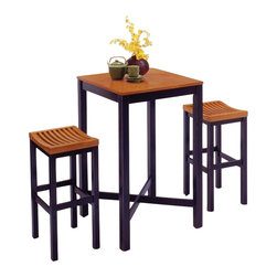 Home Styles - Home Styles Bar Table Set in Black and Oak Finish - Home Styles - Pub Tables - 5983358 - Home Styles Bar Table with Veneer Top features a Hardwood construction in black finish with cottage oak veneer table top. Size: 26.75w 26.75d 45h. 29 inch bar stool features a hardwood construction in black finish with cottage oak finish seat, and Contoured shaped seat for comfort. Size: 15.75w 13.75d 29h.