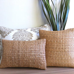 Woven Rattan Boudoir Pillow by MinModtique - Liz Weston's handwoven rattan pillows add a beachy feel inside or out.