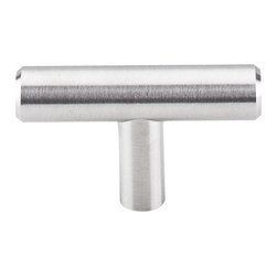 "Top Knobs - Solid T-Handle 2"" - Brushed Stainless Steel - Length - 2"", Width - 1/2"", Projection - 1 1/4"", Base Diameter - 3/8"""