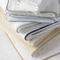 Comforting and Luxurious Bath Details - Cairo bath towels with straight piping. Classic and luxurious.