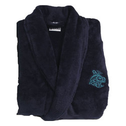 Living Healthy Products - Velura TM Robe -Soft & Comfy - womens robe & men's robes  L/XL - Midnight Navy - Lounge in luxury in this unisex Robe in Velura - the softest and most luxurious fabric developed to date.