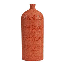 iMax - Isla Large Vase - Bold orange color finished in a crackle glaze revitalizes rooms and is reminiscent of reptile patterns on this large vase.