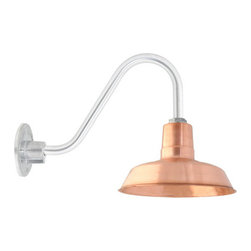The Original™ Copper Gooseneck Light - Enjoy the fresh look of copper with your Original™ gooseneck light! Hand-spun from solid copper, this RLM style shade mounts to customizable gooseneck arms.  By Barn Light Electric
