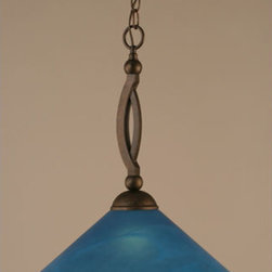 Toltec Lighting - Bow Bronze Pendant with Blue Italian Glass - - 16 Blue Italian Glass  - Includes 10' of chain and 11' of wire  - Bulbs not included Toltec Lighting - 271-BRZ-415