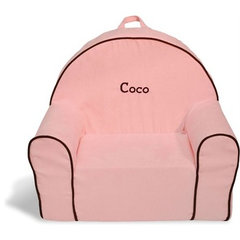 Pink Microsuede Personalized Toddler Chair - RosenberryRooms.com