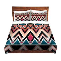 DiaNoche Designs - Duvet Cover Twill by Organic Saturation - Mountain Nativo Tribal - Lightweight and super soft brushed twill Duvet Cover sizes Twin, Queen, King.  This duvet is designed to wash upon arrival for maximum softness.   Each duvet starts by looming the fabric and cutting to the size ordered.  The Image is printed and your Duvet Cover is meticulously sewn together with ties in each corner and a concealed zip closure.  All in the USA!!  Poly top with a Cotton Poly underside.  Dye Sublimation printing permanently adheres the ink to the material for long life and durability. Printed top, cream colored bottom, Machine Washable, Product may vary slightly from image.