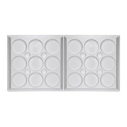 "Roman Circle Ceiling Tile - 2x5 - White - Perfect for both commercial and residential applications, these tiles are made from thick .03"" vinyl plastic. Their lightweight yet durable construction make these tiles easy to install. Waterproof, these tiles are washable and won't stain due to humidity or mildew. A perfect choice for anyone wanting to add that designer touch at an amazing price."