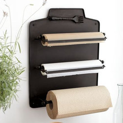 Cucina Wall-Mount Kitchen Roll Organizer - I love the idea of getting all of those clunky, raggedy paper rolls and boxes out of my kitchen drawer, as well as making rolls of craft and wax paper a design element in the room.