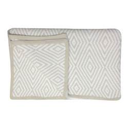 """Kashwere - Kashwere Diamond Throw Malt & White - Bold and sophisticated, the modern Kashwere throw captivates with an intriguing malt and white damask pattern. The rectangular throws soft texture and depth soothe with luxurious comfort. 52""""W X 70""""L; Machine washable; 100% Kashwere Chenilla synthetic fiber"""
