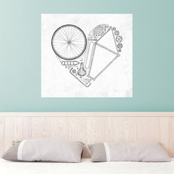 My Wonderful Walls - Florent Bodart Love Bike Wall Decal - - Product: decal of bicycle parts in heart shape