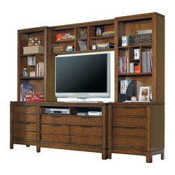Hooker Furniture - Hooker Furniture Opus Designs Carter Media Chest 6 Piece Entertainment Center in - Hooker Furniture - Entertainment Centers - 151346XX6PcMediaPKG - Hooker Furniture Opus Designs Carter Media Chest 6 Piece Entertainment Center in Brown