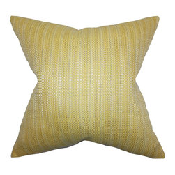 "The Pillow Collection - Zebulun Woven Pillow Yellow 18"" x 18"" - This snazzy toss pillow is anything but boring. Toss this bright accent pillow anywhere inside your home where it needs styling and comfort. Add a pop of color to your sofa, bed or couch with this 18"" pillow. Constructed with a blend of materials: 64% rayon and 36% polyester material."