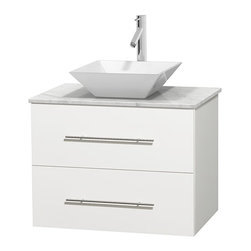 Wyndham Collection - Centra Bathroom Vanity in White,WT  Carrera Top,Pyra White Sink,No Mir - Simplicity and elegance combine in the perfect lines of the Centra vanity by the Wyndham Collection. If cutting-edge contemporary design is your style then the Centra vanity is for you - modern, chic and built to last a lifetime. Available with green glass, pure white man-made stone, ivory marble or white carrera marble counters, with stunning vessel or undermount sink(s) and matching mirror(s). Featuring soft close door hinges, drawer glides, and meticulously finished with brushed chrome hardware. The attention to detail on this beautiful vanity is second to none.