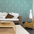 Bombay Paisley Damask Wall Stencils - Large Bombay Paisley Damask Wall Stencil from Royal Design Studio Stencils. This large hanpainted wallpaper pattern stencil adds ethnic flair to living rooms, dining rooms and bedrooms. It works in Asian, eclectic, modern and global furnishings.