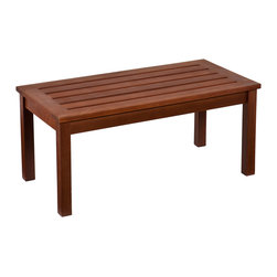 SEI - Beagan Hardwood Cocktail Table - Oil Finish - Add convenience and style to any outdoor space around your home with this lovely hardwood cocktail table. It's a beautiful way to add space for entertaining and decor to your outdoor area. The contemporary slatted surface pairs with a dark brown oiled finish to add a regal look to your outdoor living space. The slatted design allows for quick drying after a cooling rainfall. Indonesian hardwoods naturally weather to a handsome, silvery gray color if kept outdoors; regular application of oil will maintain the brown color of the wood. Simply clean the wood with mild soap and water when necessary. This cocktail table is perfect for outdoor or patio use and offers a stately yet contemporary feel. The durable Indonesian hardwoods will provide elegant use through the years.