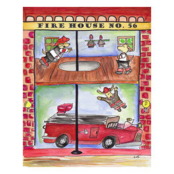 Oh How Cute Kids by Serena Bowman - Fire House, Ready To Hang Canvas Kid's Wall Decor, 11 X 14 - Every kid is unique and special in their own way so why shouldn't their wall decor be so as well! With our extensive selection of canvas wall art for kids, from princesses to spaceships and cowboys to travel girls, we'll help you find that perfect piece for your special one.  Or fill the entire room with our imaginative art, every canvas is part of a coordinating series, an easy way to provide a complete and unified look for any room.