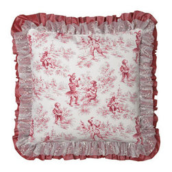 Sweet Dreams - Sweet Dreams Toile European Sham - Fun and fancy pink toile bed linens depict musically-inclined monkeys. From Sweet Dreams®. Bedspreads have a toile top and pink taffeta skirt with embroidered overlay. Button closure on back allows you to add a filler to the bedspreads for additi...