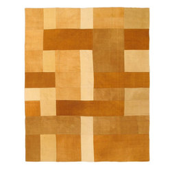 """Torabi Rugs - Flat-weave Bohemian Beige Wool Kilim 6'7"""" x 8'2"""" - This patchwork rug is made of vintage classic kilim pieces which are sewn together to form a truly one of a kind larger rug. This quirky and eclectic piece is painstakingly hand stitched. Light weight, this can also be used as a bedspread or throw. A colorful and updated vision of style, color and texture."""