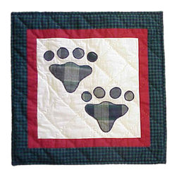 Patch Quilts - Fido Paw Toss Pillow 16 x 16 Inch - Decorative applique Quilted Pillow Bed and Home Ensembles and Bedding items from Patch Magic   - Machine washable  - Line or Flat dry only Patch Quilts - TPFIDOPW