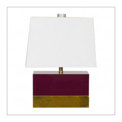 Worlds Away Foley Oxblood and Brass lacquer Table Lamp - Worlds Away Foley Oxblood and Brass lacquer Table Lamp