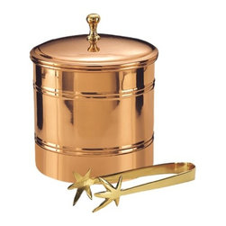 "Old Dutch - 6_ Dia. x 7 H. D_cor Copper Lined Ice Bucket w/Brass 7_ Tongs 3 Qt - Elegant D_cor Copper lined ice bucket with brass tongs. Plastic lining helps insulate, keeps ice frozen longer. Brass tongs included. 3 quart capacity. Size 6 1/4"" x 7 1/4\""  This item cannot be shipped to APO/FPO addresses  NOTE:"