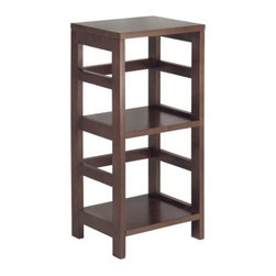 Winsome Wood - Leo 2-Tier Shelf, Narrow - Our Leo 2-Tier Shelf, Narrow has classic and sturdy design. This elegant shelving unit fulfills both style and functional requirements. Its two sections hold the Espresso Small Storage Basket perfectly.