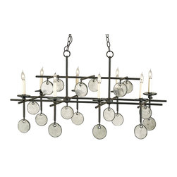 "Currey and Company - Sethos Rectangular Chandelier - The Sethos Rectangular Chandelier is a strong sweeping statement of wrought iron and recycled glass materials. Wearing ""jewelry? of recycled glass in the form of glass discs that dangle from its arms, its unusual appearance and functional configuration make this a chandelier not to be ignored."