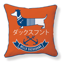 "Naked Decor - Hello Dachshund Sailor Pillow - Size: 18""x18"""