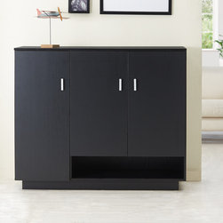 Furniture of America - Furniture of America Ryanthe Black Multi-Functional Cabinet - Store your small pieces out of sight with this functional and modern cabinet. This handy cabinet provides a left slim compartment with five compact shelves and a two-door cabinet section with four wide shelves atop an open bottom shelf.