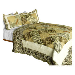 Blancho Bedding - [Melody Fair] 3PC Contained Vermicelli-Quilted Patchwork Quilt Set (Full/Queen) - Set includes a quilt and two quilted shams (one in twin set). Shell and fill are 100% cotton. For convenience, all bedding components are machine washable on cold in the gentle cycle and can be dried on low heat and will last you years. Intricate vermicelli quilting provides a rich surface texture. This vermicelli-quilted quilt set will refresh your bedroom decor instantly, create a cozy and inviting atmosphere and is sure to transform the look of your bedroom or guest room. Dimensions: Full/Queen quilt: 90 inches x 98 inches  Standard sham: 20 inches x 26 inches.