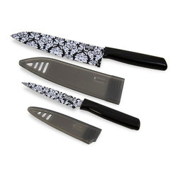 "Kuhn Rikon - Kuhn Rikon 6.5 Chefs Knife and 4 Paring Knife Set Colori Black - This Black Colori Damask Knife Set can handle all your kitchen prep tasks.  The 6.5 Chefs Knife Colori Damask is ultra sharp in so many ways quality, performance, and Swiss design.  The 4 Paring Knife Colori Damask is perfect for slicing cheese for a sandwich, peeling an apple for a snack or chopping vegetables for a salad.  Features: 6.5"" Blade on the Chefs Knife 4 Blade on the Paring Knife Stylish Black Damask pattern Made from Japanese high carbon stainless steel Blades stay super sharp Perfect for essential kitchen tasks Nonstick coating ensures food will release easily from blade Matching sheath is perfect for storage and protects blade"