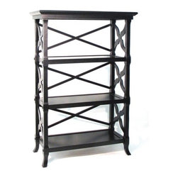 """Wayborn - Baron 47"""" H Three Shelf Book Stand in Black - This transitionally inspired wooden book stand from Wayborn is the perfect piece to accent any office, living room or den. Featuring the black Baron theme, this book stand has 3 shelves for displaying any items or piling books up high. This hand crafted stand is sure to add that little bit of flair to tie your space together. Features: -Black Baron theme. -Book stand. -3 Shelves. -Hand-carved. -Hand finished. -Assembly required. -Overall dimensions: 46.5"""" H x 32"""" W x 14""""D. -Smooth Black Finish."""