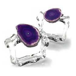 Aleotto Napkin Rings - Eggplant - Fulsome purple is a bold choice for the table and the home; the Aleotto Napkin Rings in Eggplant add perfectly-sized pops of aubergine to continue an existing palette or bring the royal treatment to a color scheme which is absent this gorgeous choice of decorator hues. The vivid color comes from an authentic dyed agate slice, its rough edges and interior banding left gloriously intact; a clear glass ring with a loose form adds subtle sparkle.