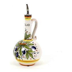 Artistica - Hand Made in Italy - Olive: Olive Oil Bottle Deruta - Olivo Collection: Inspired by Mediterranean olive trees, our new Olivo pattern, depicts one of the most prized treasures grown under the Tuscan sun, this simple but beautiful design reflects the simplicity and beauty of the rich landscape and the fruits it bears.
