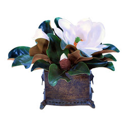 Jane Seymour Botanicals - Magnolia Planter white 16 inch tall - With its pop of snowy white petals against deep green leaves, this arrangement is simply stunning. Lovely, lifelike and nestled in a pretty brown planter, it's a magnificent magnolia to freshen up any space in your home.