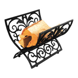 Cast Iron Log Rack - This black cast iron log rack is perfect to keep your wood stock nearby the fire. It has an elegant design of scroll work.