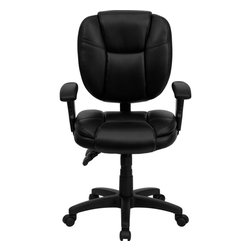 Flash Furniture - Flash Furniture Office Chairs Leather Task chairs X-GG-SMRA-AEL-KB-F039-OG - This Office Task Chair has multi-functional controls which makes this chair a pleasure to use. When standard office chairs have your legs, back, and neck aching, this chair is the right choice for you. Featuring an overstuffed seat and back that allow true ergonomics, this chair is sure to be the cure for all your chair-related fatigue. [GO-930F-BK-LEA-ARMS-GG]