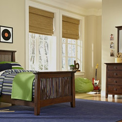 Wentworth Dark Wood II Kids Bedroom Collection - Play Time. Let your child's bedroom décor inspire their creative pursuits yet stand up to wear and tear with our Wentworth II Dark collection. The slatted louver effect and simple, sturdy vertical lines speak to the motifs of the Arts and Crafts design movement, while the mortise and tenon accents bring to mind the related mission-furniture style. These elements work with the chocolate-finished mersawa veneers for a rich, contemporary look. The smaller scale of this collection will fit in well in a kids bedroom and the burnished metal, ring-shaped drawer pulls add a rustic finishing touch to this versatile group.