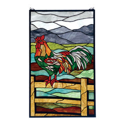 "Meyda - 19""W X 31""H Tiffany Rooster Stained Glass Window - Meyda tiffany's original rooster window will inspireyou to rise early. The russet and emerald rooster,perched on an oak brown fence is a striking contrastagainst green and earth brown fields and grey sky andmountains. Handcrafted utilizing the copperfoilconstruction process and 178 pieces of stained artglass encased in a solid brass frame. Mounting bracketand jack chain are included."