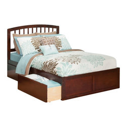 Atlantic Furniture - Atlantic Furniture Richmond Bed with Drawers in Antique Walnut-Queen Size - Atlantic Furniture - Beds - AR8842114