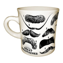 "Inova Team -Modern Ceramic Mug - No longer will people be able to merely gaze upon you and say, ""That is one impressive moustache you have."" Instead, as you stand sipping your coffee, onlookers will be dazzled by the sheer spectacle of the fourteen iconic and historical lip warmers that grace your mug. From push brooms to handlebars, you'll find the facial hair sported by some of the great men of poetry, art, science and philosophy. Not sure which stache is which? A numbered answer key is printed on the bottom of the mug for your post-beverage convenience."