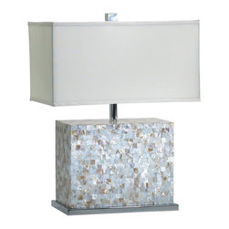 Cyan Design - Cyan Design Shell Tile Transitional Table Lamp X-79520 - The wide rectangular body of this Cyan Design table lamp is complimented by rows upon rows of square shell tiles, which create a classic mosaic pattern. This transitional table lamp also features a matching white fabric shade in a similar shape, as well as Polished Chrome accents throughout.