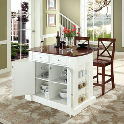 "Crosley - Kitchen Island Set - Constructed of solid hardwood and wood veneers, this kitchen island is designed for longevity. The handsome raised panel doors and drawer fronts provide the ultimate in style to dress up any culinary space. Raise the drop leaf to expand your serving space, or just sit at the breakfast bar and eat your meal. Behind the doors, you will find adjustable shelves and an abundance of storage space for objects you'd prefer to keep hidden. Open storage on both ends provides easy access to frequently used items, and is perfect for displaying decorative objects. Raised diamond accents and fluted pilasters are sure to impress your guests. Style, function, and quality make this kitchen island a wise addition to your home. Features: -Sculpted edges on each end of top.-Drop leaf for additional space or dining.-Open storage with adjustable shelves on each end.-Raised panel doors, drawers and side panels.-Product Type: Butcher block island.-Collection: Oxford.-Hardware Finish (Base Finish: Black): Brushed Nickel.-Hardware Finish (Base Finish: Classic Cherry): Antique Brass.-Hardware Finish (Base Finish: White): Brushed Nickel.-Distressed: No.-Powder Coated Finish: No.-Gloss Finish: No.-Base Material: Hardwood and veneers.-Hardware Material: Steel.-Solid Wood Construction: No.-Exterior Shelves: Yes .-Drawers Included: Yes -Number of Drawers: 2.-Push Through Drawer: Yes.-Dovetail Joints: No.-Drawer Dividers: No.-Drawer Handle Design: Knob.-Silverware Tray : No..-Cabinets Included: Yes -Number of Cabinets : 1.-Double Sided Cabinet: No.-Number of Interior Shelves: 2.-Adjustable Interior Shelves: Yes.-Number of Doors: 2.-Magnetic Door Catches: Yes.-Locking Doors: No.-Door Handle Design: Knob..-Towel Rack: Yes -Removable Towel Rack: No..-Pot Rack: No.-Spice Rack: No.-Cutting Board: No.-Drop Leaf: No.-Drain Groove: No.-Trash Bin Compartment: No.-Stools Included: Yes.-Casters: No.-Wine Rack: No.-Stemware Rack: No.-Cart Handles: No.-Finished Back: Yes.-Swatch Available: No.-Commercial Use: No.-Recycled Content: No.-Eco-Friendly: No.-Product Care: Use a soft clean cloth that will not scratch the surface when dusting. Use of furniture polish is not necessary. Should you choose to use a furniture polish, test in an inconspicuous area first. Use of solvents of any kind could damage your furniture's finish. To clean, simply use a soft cloth moistened with lukewarm water, then buff with a dry soft clean cloth..Specifications: -ISTA 3A Certified: Yes.Dimensions: -Overall Height - Top to Bottom: 36"".-Overall Width - Side to Side: 48.25"".-Overall Depth - Front to Back: 23"".-Width Without Side Attachments: 40"".-Countertop Thickness: 1.5"".-Countertop Width - Side to Side: 42"".-Countertop Depth - Front to Back: 23"".-Shelving: -Shelf Height - Top to Bottom: 22.5"".-Shelf Width - Side to Side: 19"".-Shelf Depth - Front to Back: 16.5""..-Drawer: -Drawer Interior Height - Top to Bottom: 4"".-Drawer Interior Width - Side to Side: 19.5"".-Drawer Interior Depth - Front to Back: 15.5""..-Cabinet: -Cabinet Interior Height - Top to Bottom: 22.5"".-Cabinet Interior Width - Side to Side: 38"".-Cabinet Interior Depth - Front to Back: 16.5""..-Stool: -Stool Height - Top to Bottom: 40.5"".-Stool Width - Side to Side: 18.5"".-Stool Depth - Front to Back: 22.5"".-Stool Weight: 9 lbs..-Overall Product Weight: 132 lbs"