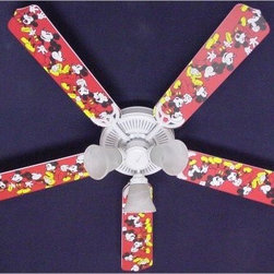 Ceiling Fan Designers Disney Mickey Mouse 1 Indoor Ceiling Fan - This Ceiling Fan Designers Disney Mickey Mouse 1 Indoor Ceiling Fan is filled with Disney magic. Perfect for any Disney themed room, this ceiling fan has a classic Mickey Mouse design with a red background. It's a ceiling fan and light kit combo and comes in your choice of size: 42-inch with 4 blades or 52-inch with 5. The blades are reversible so you the all-over Mickey Mouse design on one side and classic white on the other. It has a powerful yet quiet 120-volt, 3-speed motor with easy switch for year-round comfort. The 42-inch fan includes a schoolhouse-style white glass shade and requires one 60-watt candelabra bulb (not included). The 52-inch fan has three alabaster glass shades and requires three 60-watt candelabra bulbs (included). Your ceiling fan includes a 15- to 30-year manufacturer's warranty (based on size). It is not an officially licensed product. Licensed products were used as decorations.