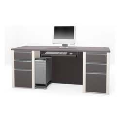 Bestar - Bestar Connexion Slate & Sandstone 71 x 30 Rectangular Workstation Desk - The desk is made of durable 1 inch commercial grade work surface with melamine finish that resist scratches stains and wears. It features an impact resistant 0.25 cm PVC edge and a full modesty panel. Grommets are available on the desk for efficient wire management. The desk meets or exceeds ANSI/BIFMA performance standards. The pedestals are assembled to facilitate assembly and offer two utility drawers and one file drawer with letter/legal filing system. One lock secures bottom two drawers. The drawers are on ball-bearing slides and the keyboard shelf has double extension ball-bearing slides for a smooth and quiet operation. Also available in Bordeaux and Slate finish. Connexion is a contemporary and durable collection that features a wide variety of configuration options that will adapt to your specific needs.Nowadays performance productivity and quality of life are fundamental to achieving our personal and professional goals. Bestar's home and office furniture design is based upon these criteria as well as on today's reality. On average we spend about 40 hours a week at work (home or office) which represents a large portion of our time. Various factors have a direct impact on our well-being at work: an important concern in the current employment environment continually changing and at an ever-increasing pace. Therefore organizing your space is certainly a parameter to consider. Features include Strong and large work surface Plenty of room to organize your documents Security and confidentiality for your documents. Specifications Finish/color: Slate & Sandstone.