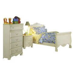 Standard Furniture - Standard Furniture Diana 5-Piece Panel Headboard Bedroom Set - Diana gives your princess her own Victorian retreat. Wood products with simulated wood grain laminates. This group may contain plastic parts. Some pieces feature open panel construction with metal roller bearing glides. Other pieces feature folded case side construction with center-mounted runners. Mirrors are back mounted and reinforced. Brushed-white, brass color swing bail pulls and clear plastic knobs. Simulated, white wash wood grain color. Surfaces clean easily with a soft cloth.
