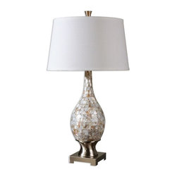 Uttermost - Madre Mosaic Tile Lamp - Mosaic tiles of mother of pearl accented with brushed aluminum accents.