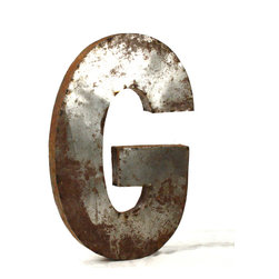 "Kathy Kuo Home - Industrial Rustic Metal Large Letter G 36""H - Create a verbal statement!  Made from salvaged metal and distressed by hand for an imperfect, time-worn look."